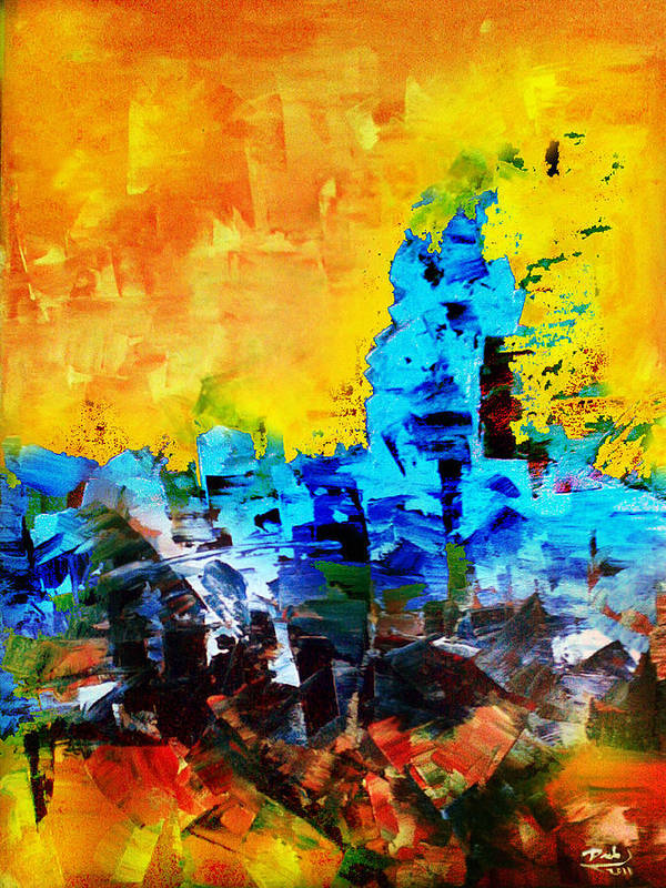 Print featuring the painting Abstract by Deeb Marabeh