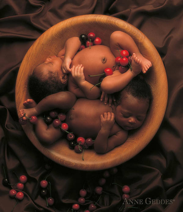 African Babies In Bowl Print featuring the photograph Untitled by Anne Geddes