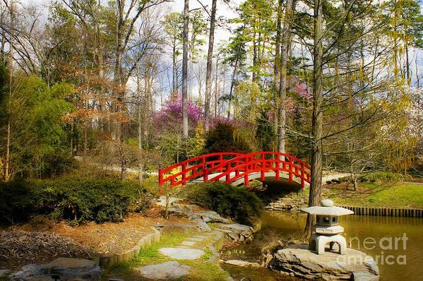 Sarah P. Duke Gardens Print featuring the photograph A Bridge To Spring by Benanne Stiens