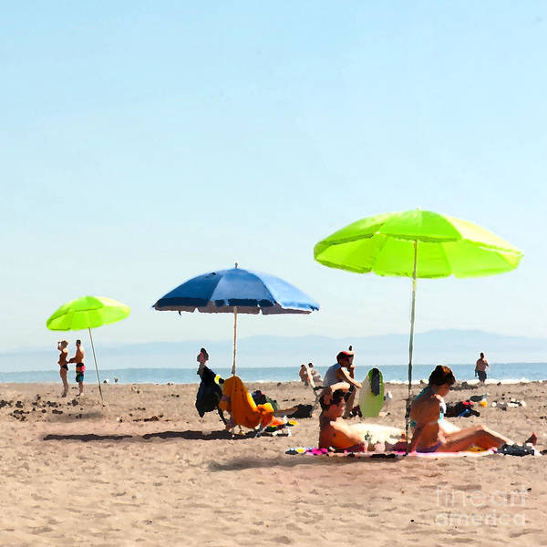 Beach Umbrellas Print featuring the painting A Fine Day At The Beach by Artist and Photographer Laura Wrede