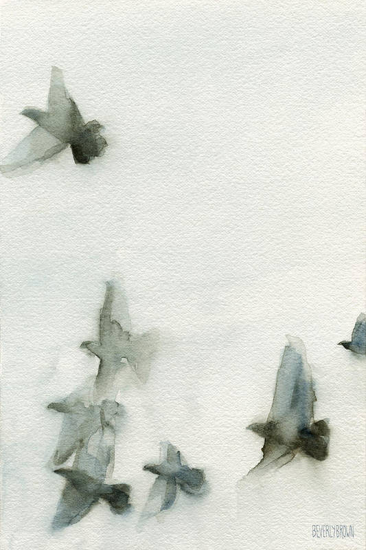Bird Print featuring the painting A Flock Of Pigeons 1 Watercolor Painting Of Birds by Beverly Brown Prints