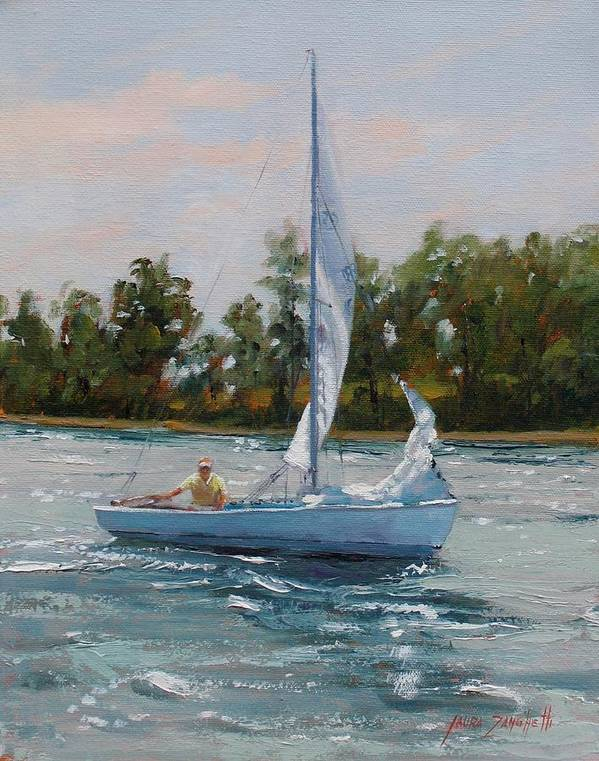 Boating Print featuring the painting A Gift Of Memories Two On Rhodes 19 by Laura Lee Zanghetti