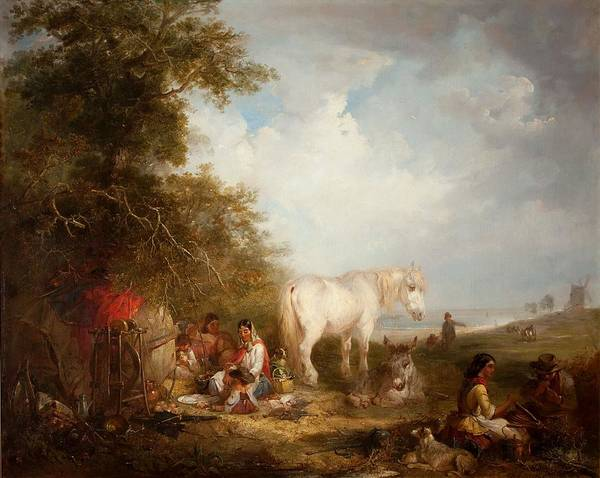 Gypsy Print featuring the painting A Gypsy Scene by Edward Robert Smythe