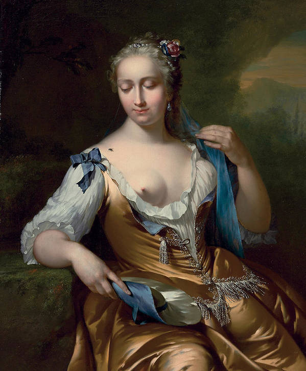 A Lady In A Landscape With A Fly On Her Shoulder Print featuring the painting A Lady In A Landscape With A Fly On Her Shoulder by Frans van der Mijn