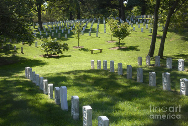 Arlington National Cemetery Print featuring the photograph A Waiting Bench by Paul W Faust - Impressions of Light