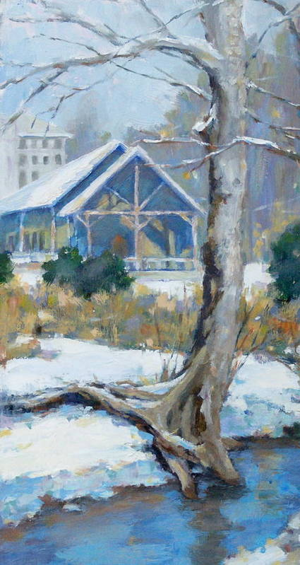 Edwin Warner Park Print featuring the painting A Winter Walk In The Park by Sandra Harris