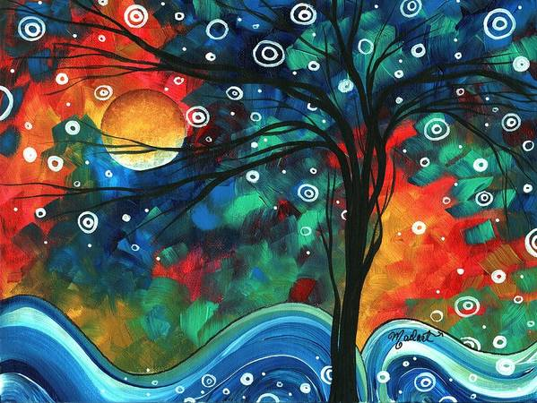 Abstract Print featuring the painting Abstract Art Original Landscape Colorful Painting First Snow Fall By Madart by Megan Duncanson