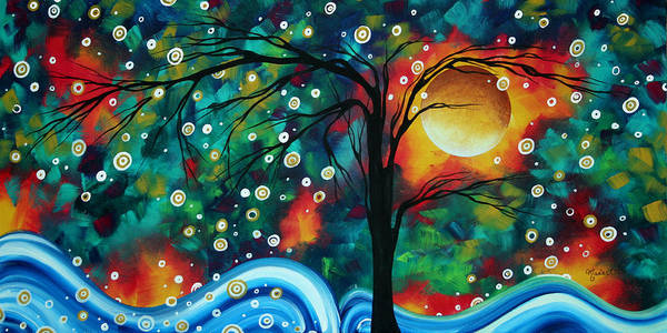 Abstract Print featuring the painting Abstract Art Original Landscape Painting Bold Circle Of Life Design Dance The Night Away By Madart by Megan Duncanson