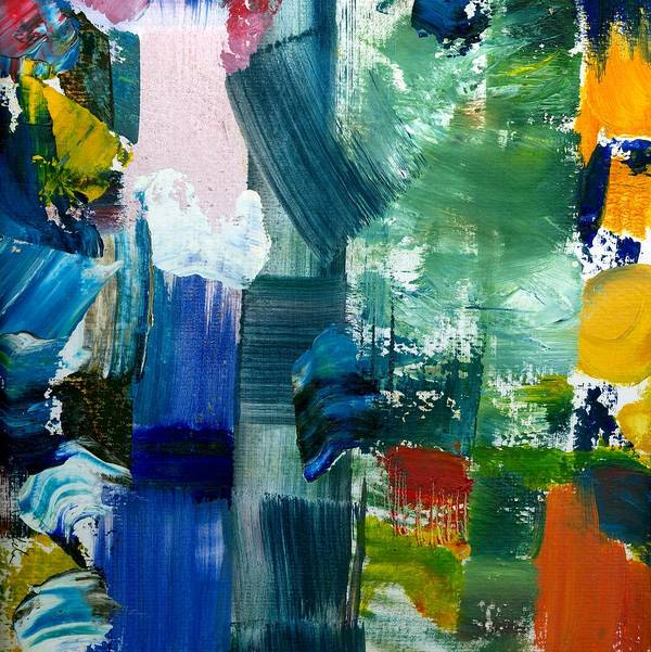 Abstract Collage Print featuring the painting Abstract Color Relationships Lll by Michelle Calkins