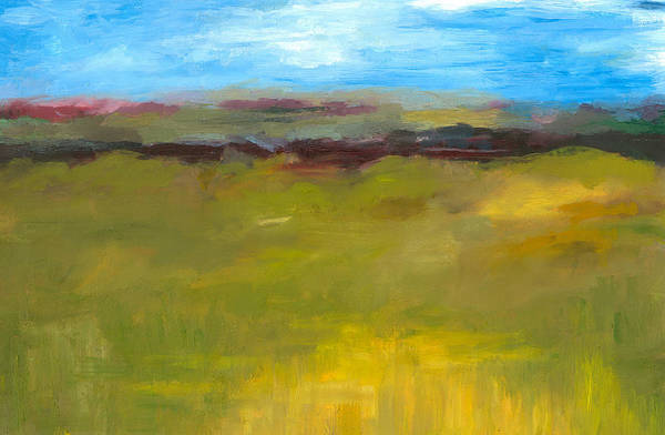 Abstract Expressionism Print featuring the painting Abstract Landscape - The Highway Series by Michelle Calkins