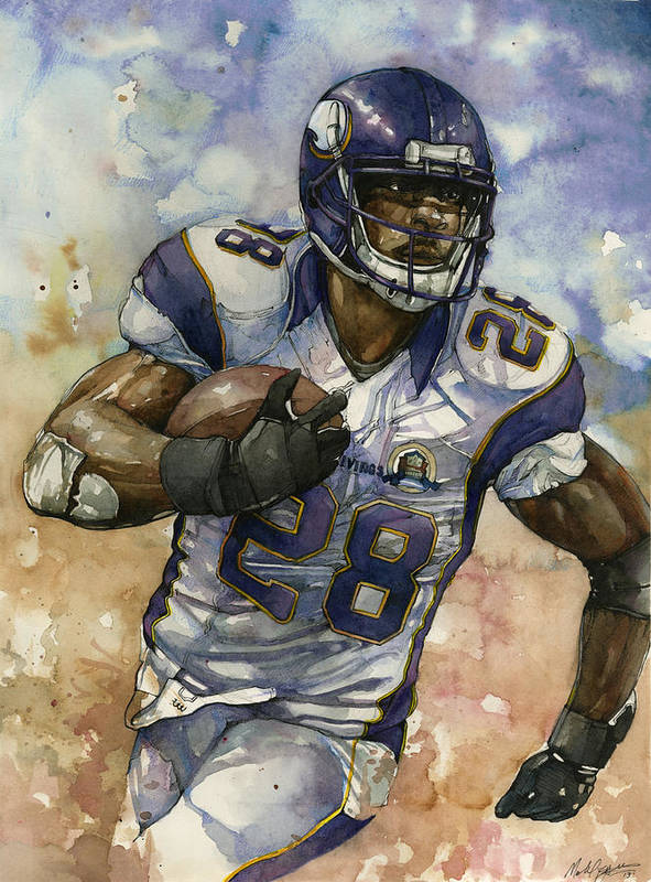 Adrian Peterson Print featuring the painting Adrian Peterson by Michael Pattison