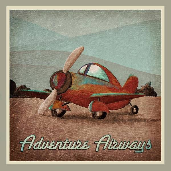 Plane Print featuring the painting Adventure Air by Cindy Thornton