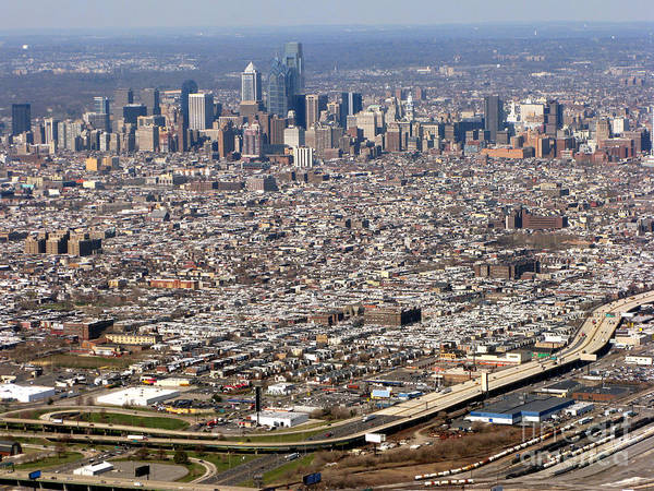 Philadelphia Print featuring the photograph Aerial Philadelphia by Olivier Le Queinec