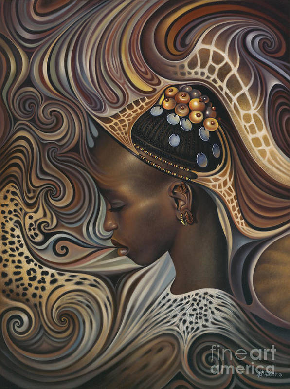 African Print featuring the painting African Spirits II by Ricardo Chavez-Mendez
