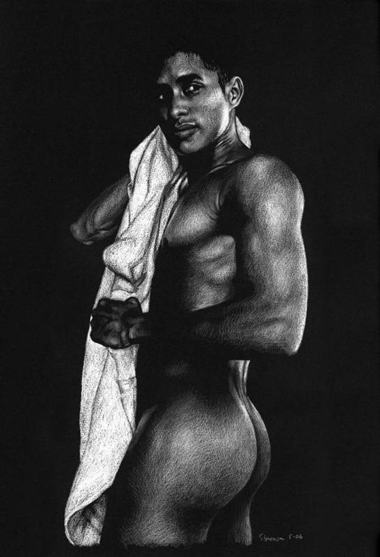 Male Nude Print featuring the drawing Afterwards by Douglas Simonson