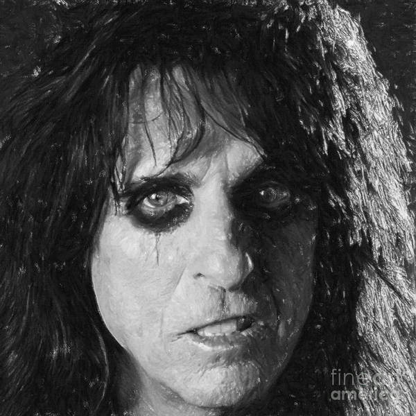 Alice Print featuring the drawing Alice Cooper by Antony McAulay