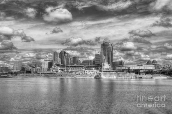 Cincinnati Print featuring the photograph All American City 2 Bw by Mel Steinhauer