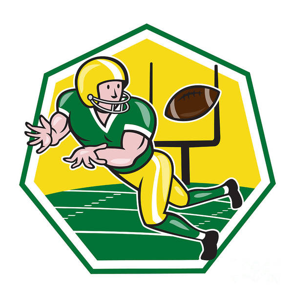 American Football Print featuring the digital art American Football Wide Receiver Catching Ball Cartoon by Aloysius Patrimonio