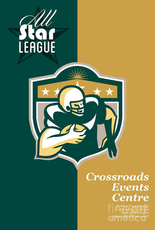 American Football Print featuring the digital art American Gridiron All Star League Poster by Aloysius Patrimonio