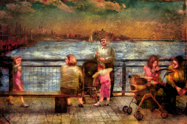 Savad Print featuring the digital art Americana - People - Jewish Families by Mike Savad