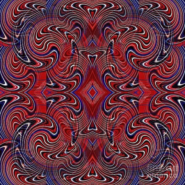 Americana Print featuring the digital art Americana Swirl Design 1 by Sarah Loft