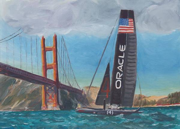 San Francisco Print featuring the painting Americas Cup By The Golden Gate by James Lopez