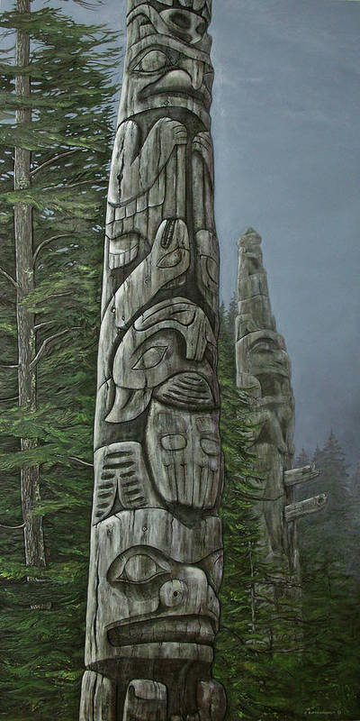 Totems Print featuring the painting Amid The Mist - Totems by Elaine Booth-Kallweit