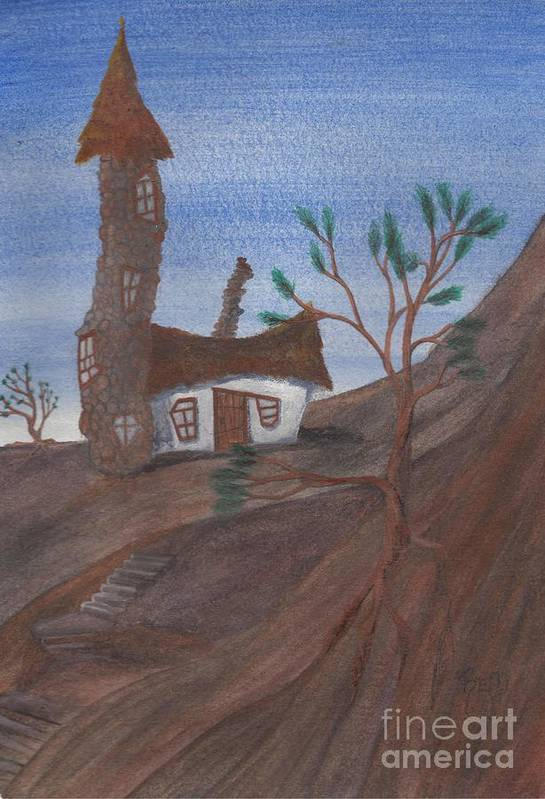 Tower Print featuring the painting An Odd Folly by Robert Meszaros