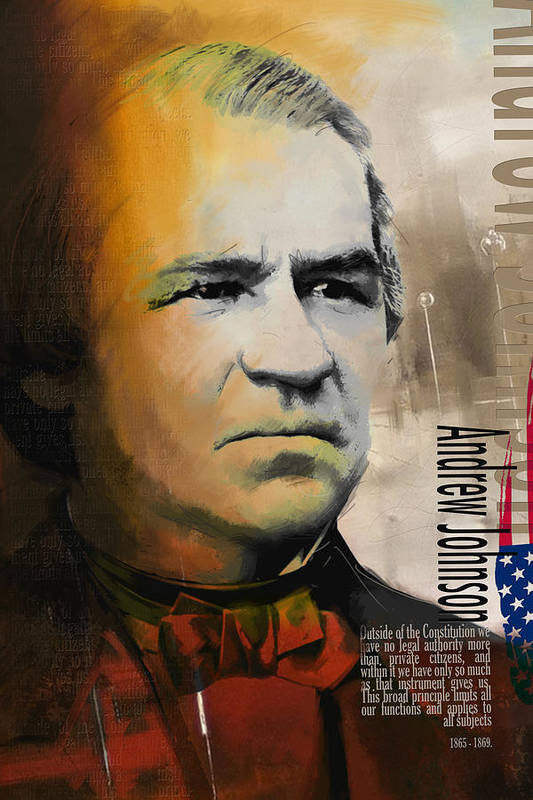 Andrew Johnson Print featuring the painting Andrew Johnson by Corporate Art Task Force