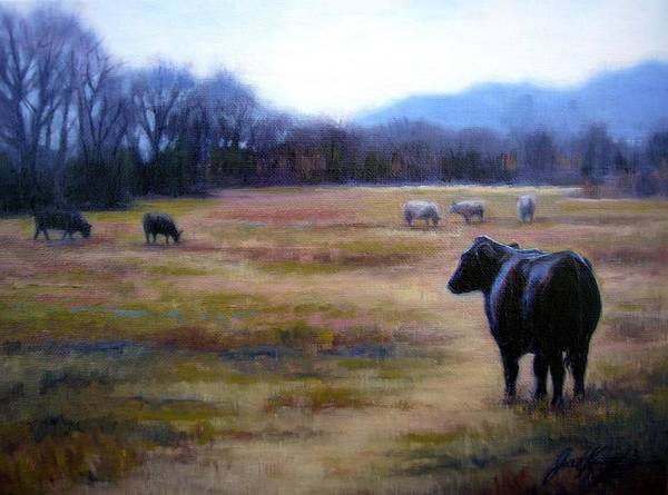 Angus Steer Print featuring the painting Angus Steer In Franklin Tn by Janet King