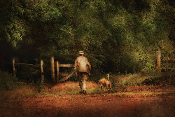 Savad Print featuring the photograph Animal - Dog - A Man And His Best Friend by Mike Savad