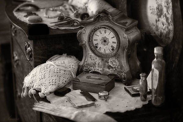 Perfumes Print featuring the photograph Antique Dresser I by Maria Angelica Maira