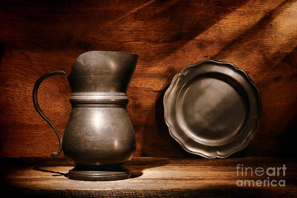 Pewter Print featuring the photograph Antique Pewter Pitcher And Plate by Olivier Le Queinec