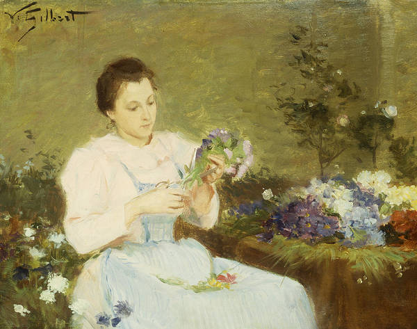 Arranging; Flowers; Flower; Spring; Bouquet; Posy; Floral; Girl; Female; Youth; Young; Seated; Apron; Florist; Floristry; Concentrating; Concentration; Impressionist-style; Loose; Handling; Painterly; Impressionistic; Impressionist Print featuring the painting Arranging Flowers For A Spring Bouquet by Victor Gabriel Gilbert