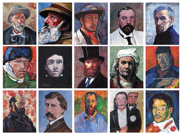 Famous Artist Self Portraits Print featuring the painting Artist Portraits Mosaic by Tom Roderick
