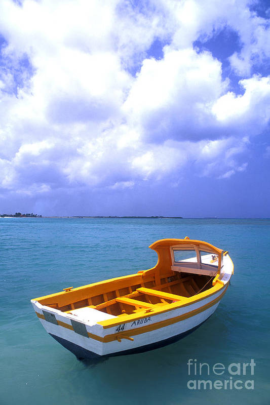 Vibrant Color; Empty; Absence; Transportation; Tranquility; Horizon Over Water; Sea; Fishing Boat; Floating On Water; Travel; No People; Vertical; Outdoors; Day; Aruba Print featuring the photograph Aruba. Fishing Boat by Anonymous