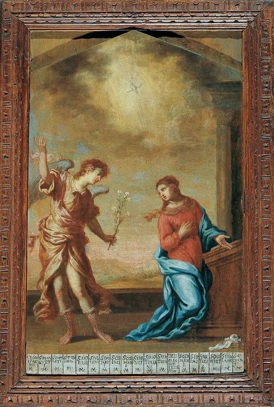 Annunciation Print featuring the photograph Attributed Guardi Francesco, Trinity by Everett