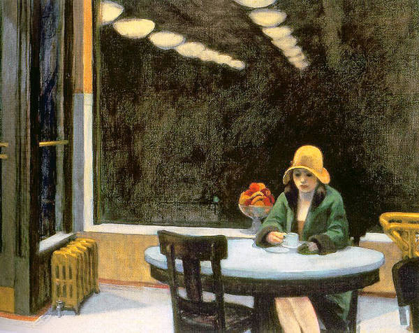 Female Print featuring the painting Automat by Edward Hopper