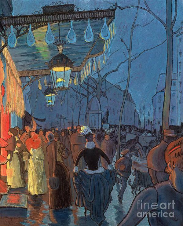 Evening Print featuring the pastel Avenue De Clichy Paris by Louis Anquetin