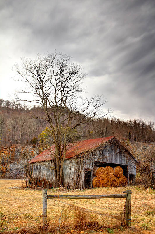Barn Print featuring the photograph Awaiting Spring by David Jones