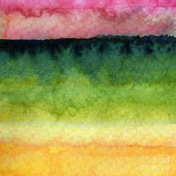Abstract Landscape Print featuring the painting Awakened Too by Linda Woods