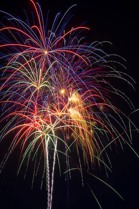 Awesome Fireworks Lights Up The Darkness Print featuring the photograph Awesome Fireworks by Garry Gay