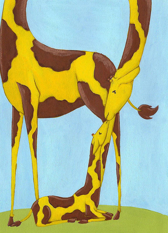 Giraffe Print featuring the painting Baby Giraffe Nursery Art by Christy Beckwith