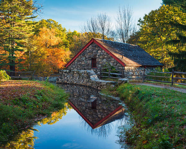 Grist Mill Print featuring the photograph Back Of The Grist Mill by Michael Blanchette