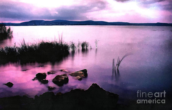 Acrylic Print featuring the painting Balaton By Night by Odon Czintos