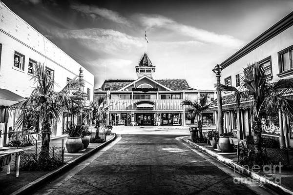America Print featuring the photograph Balboa Pavilion Newport Beach Black And White Picture by Paul Velgos