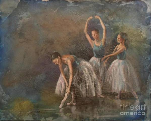 Ballet Dancers Print featuring the painting Ballet Dancers by Susan Bradbury