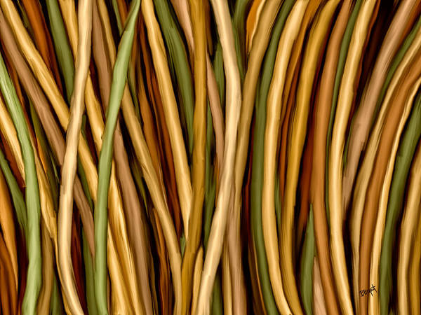 Bamboo Print featuring the painting Bamboo Canes by Brenda Bryant