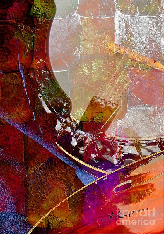 Acoustic Print featuring the photograph Banjo And Friend Digital Banjo And Guitar Art By Steven Langston by Steven Lebron Langston