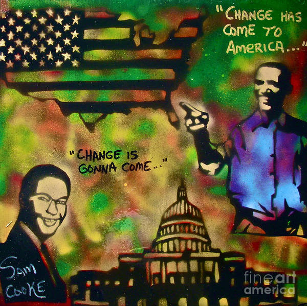 Barack Obama Print featuring the painting Barack And Sam Cooke by Tony B Conscious